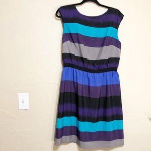 Loft Striped A Line Dress M